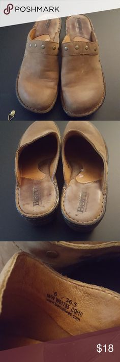 Born Tan Leather Clogs Size 6 GUV, uppers in god condition,  wear as pictured on instep,  plenty of life still left in the padding inside the shoe. normal wearing on soles of shoes Born Shoes Mules & Clogs