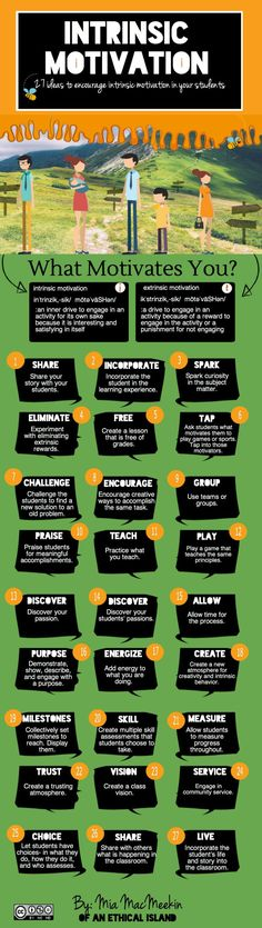 Mia MacMeekin offers this infographic that includes a definition of both intrinsic and extrinsic motivation, followed by 27 suggested actions for promoting curiosity, effort, engagement, and academ…