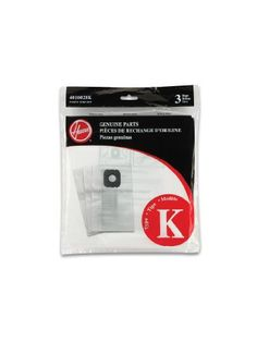 "3 Pack, Hoover, Style ""K"" Vacuum Cleaner Bag, For Hoover Spirit Canister Cleaners."