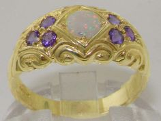 Solid-9K-Yellow-Gold-Natural-Opal-amp-Amethyst-Vintage-Style-Band-Ring
