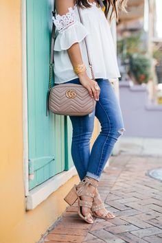 haute off the rack, women's fashion, open shoulder white top, AG jeans, the legging ankle jeans, silk scarf, neckerchief, dolce vita studded sandals, gucci handbag, must have beauty products for summer, nordstrom, summer style, julie vos jewelry