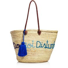 Soeur Du Maroc Do Not Disturb Straw Tote ($165) ❤ liked on Polyvore featuring bags, handbags, tote bags, straw handbags, tote purses, straw tote bags, white tote purse and tote hand bags