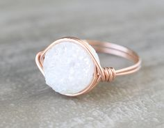 NEW Rose Gold White Druzy Statement Ring by WrennJewelry on Etsy, $28.00