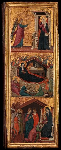 These well preserved panels are the wings of a portable triptych, the center panel of which is still unidentified. The anonymous master worked outside Siena itself, but his scenes are based on those of Duccio's famous altarpiece in the cathedral of the city