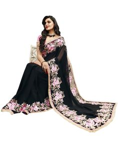 Black Lace Work Saree To know more or buy, please click Below:- http://www.ethnicstation.com/black-lace-work-saree-vl1769   #Ethnicwear