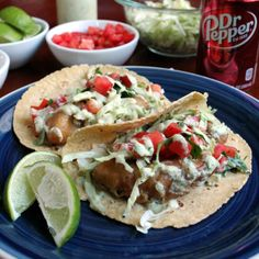 Fish Tacos with Green Chili Crema bystayathomechef #Tacos #Fish #Chili