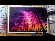 Night Sky - Speed Painting [Watercolor & Gouache] - YouTube