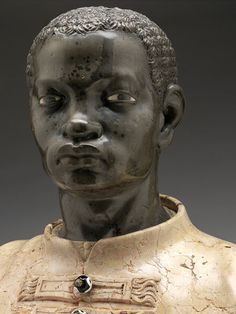 Anonymous Venetian Artist  Bust of a Black Youth in Livery  Italy (c. 1740s)  Carved Polychrome Marble, 65.4 cm.