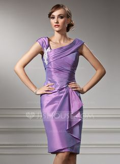 Mother of the Bride Dresses - $130.49 - Sheath Off-the-Shoulder Knee-Length Taffeta Mother of the Bride Dress With Ruffle Appliques (008005949) http://jjshouse.com/Sheath-Off-The-Shoulder-Knee-Length-Taffeta-Mother-Of-The-Bride-Dress-With-Ruffle-Appliques-008005949-g5949?ver=0wdkv5eh