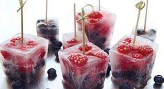 hielos de frambuesa y arandanos