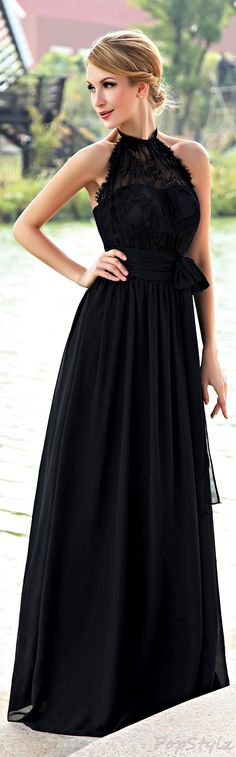 Honeystore Low Back Chiffon Gown in Black, would like it better as a short dress
