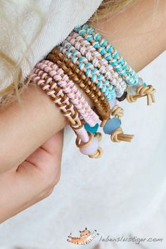 Easy leather bracelet tutorial - Make an armful of these easy DIY bracelets and stack them up for an eclectic look!