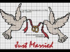 amour - love - oiseau - coeur -  point de croix - cross stitch - Blog : http://broderiemimie44.canalblog.com/
