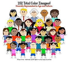 Cartoon Clip Art People Mega Pack for Commercial Use - includes color & black line art images! (191 total - priced)