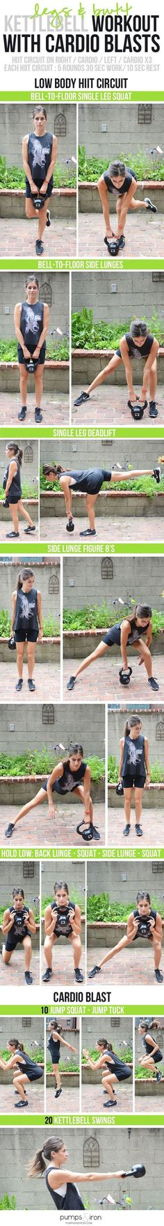 Butt and Legs Kettlebell Workout with Cardio - awesome lower body workout (and great for strengthening your back!) -GorillaGlass -sponsored