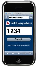 Poll Everywhere allows teachers to use cellphones for polling in class. Students text their responses, using their cellphones to give feedback, answer questions, take quizzes.