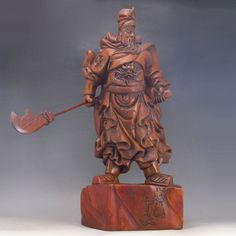 Superb Hand-carved Chinese Natural Sanders Wood Statue - Guangong General Dimension:216*139*482 (mm)8.5*5.47*18.98 (in) Weight 14.55 lbs/6.6kg