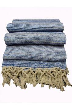 Plaid en coton et viscose, bleu, tout doux