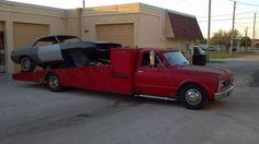 Chevy car hauler and Camaro
