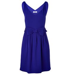 Adorable Royal Blue bow Sleeveless Dress — Sleeveless V-neck Dress, bow detail at waistline with ruffle, full skirt with loose pleats. Stylish royal blue bow embellished party dress from Moschino — Chic & Affordable.