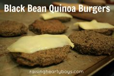 """Black Bean Quinoa Burgers via raisingheartyboys.com // """"I hope you'll take me very seriously when I say I, honest to goodness, prefer these black bean quinoa burgers to the """"real thing"""". Particularly when the """"real thing"""" are the cheap, frozen boxes of questionable quality moo-cow. The flavor of these veggie burgers trump anything you could imagine if you've never dipped your toe in veggie waters."""""""