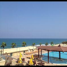 @aziwazwalking   Last day in #israel #view #beach #sea #tree #pool #taglit #birthright Blue Bay Hotel Netanya