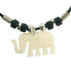 "Elephant Carved Pendant Necklace - 1.25"" x 0.75"" Pendant, 19"" Black Cord Necklace Necklaces - Tribal. $9.95"