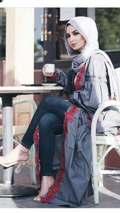Long open cardigans hijab style – Just Trendy Girls Supernatural Sty Hijab Outfit, Hijab Style Dress, Hijab Chic, Islamic Fashion, Muslim Fashion, Modest Fashion, Fashion Outfits, Abaya Mode, Hijab Mode