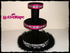 Black Zebra Stand / 3 Tiers  Cupcakes Stand  by GlitterMagic23s, $55.00