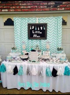 See more party planning ideas at !Little man baby shower party! See more party planning ideas at ! Idee Baby Shower, Mesas Para Baby Shower, Man Shower, Fiesta Baby Shower, Shower Bebe, Boy Baby Shower Themes, Baby Shower Gender Reveal, Shower Party, Baby Shower Parties