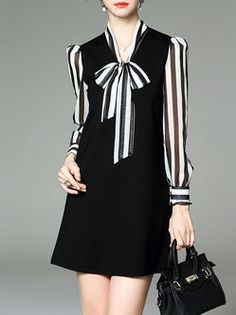 Black Stripes V neck Long sleeve Shift Casual Paneled Cotton-blend Mini  Dress