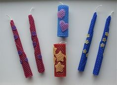 Cheryl from Sew Can Do made the most adorable rolled beeswax candles with her children. I love the decorative shapes they added! Beeswax isn't messy and yet the cut outs stick to the candles … Diy Candles Scented, Beeswax Candles, Led Candles, Menorah, Diy For Kids, Crafts For Kids, Jewish Crafts, Jewish Art, Candles In Fireplace