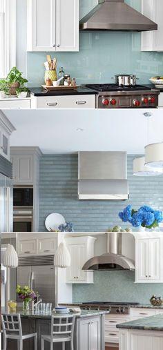 Nothing goes with a blue backsplash like a Stainless Steel Vent-A-Hood Kitchen Nook, Kitchen Reno, Kitchen Remodel, Kitchen Design, Kitchen Cabinets, Black Range Hood, Black And Red Kitchen, Blue Backsplash, Pantries