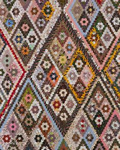 Closeup of patchwork quilt featuring diamond pattern, c. 1870 [image 1 of 2]
