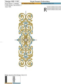 Machine Embroidery Design Vintage Gold with a blue border - 4 sizes. Beautiful on totes, pillow covers, wall hangings, and more. The combination of gold and . Machine Embroidery Quilts, Border Embroidery, Bead Embroidery Patterns, Hand Embroidery Flowers, Baby Embroidery, Embroidery Bracelets, Learn Embroidery, Free Machine Embroidery Designs, Silk Ribbon Embroidery