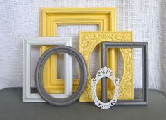 Yellow, Grey White Frames Set of 6 - Upcycled Frames Modern  Bedroom Decor. $48.00, via Etsy.