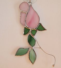 Stained Glass Rose Suncatcher by GlassofDistinction on Etsy, $13.95