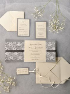 Simple and sweet stationery suite! Loving the lace too. #invitations #stationery #lace #rustic #wedding #suite Shop: For Love Polka Dots --- http://www.4lovepolkadots.com/