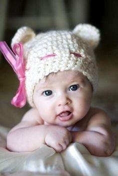 Crochet Newborn Baby Girl Hat Bear Beanie Infant Animal Cap Photo Prop Ivory Pink Ribbon. via Etsy.