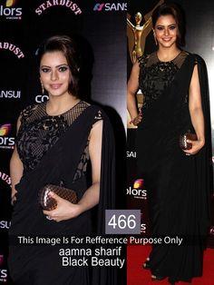 Aamna Sharif Georgette Black Plain Bollywood Designer Saree - 466BS
