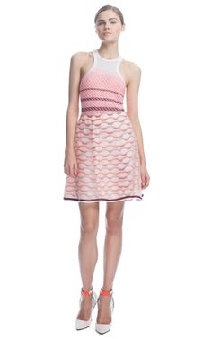 Missoni Geometric Knit Skirt with Organza Overlay