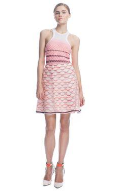 Missoni Geometric Knit Skirt with Organza Overlay
