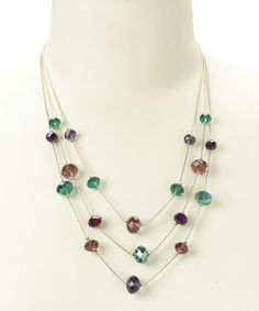 Another great find on #zulily! Purple & Teal Bead Necklace #zulilyfinds