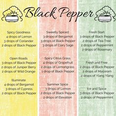 Some of my favourite diffuser blends featuring Black Pepper essential oil from doTERRA Essential Oil Perfume, Essential Oil Uses, Doterra Essential Oils, Black Pepper Essential Oil, Black Pepper Oil, Essential Oil Diffuser Blends, Doterra Diffuser, Aromatherapy Diffuser, Diffuser Recipes