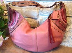 COACH Vintage Rose Leather Soho Whipstitch Studded Hobo RARE 10478 MSRP $470 #Coach #Satchel