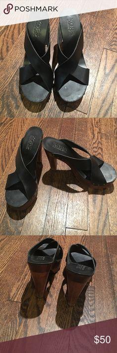 Kors Michael kors black leather wood heels size 8 Beautiful Kors black leather with wood heel amazing for spring summer great deal!!! KORS Michael Kors Shoes Sandals