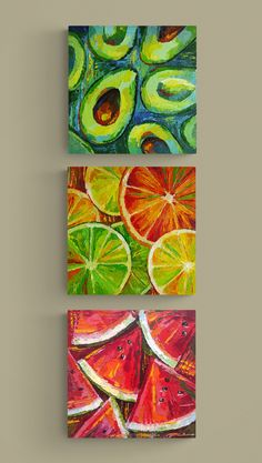 Three Canvas Painting, Simple Acrylic Paintings, Diy Canvas Art, 3 Canvas Paintings, Original Paintings, Original Art, Fruit Painting, Diy Painting, Long Painting
