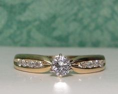 Estate SOLID 14K Yellow Gold Solitare Diamond Engagement Ring Band NO RESERVE!
