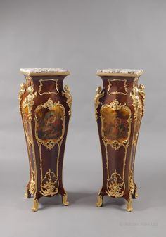 An Important Pair of Louis XV Style Kingwood, Vernis Martin and Gilt-Bronze Mounted Pedestals by AUGUSTE MAXIMILIEN DELAFONTAINE. France, Circa, 1890. - Adrian Alan