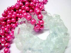 gema de vidro transparente colar duplo de pérolas rosas Peça Exclusiva